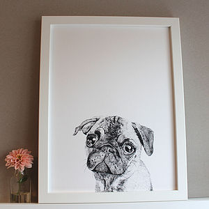 'Albert The Pug   Dog' Print