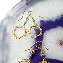Granulation Hook Gold Plate Earrings With Gemstone