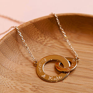 Personalised Gold Plated Interlocked Necklace - necklaces & pendants