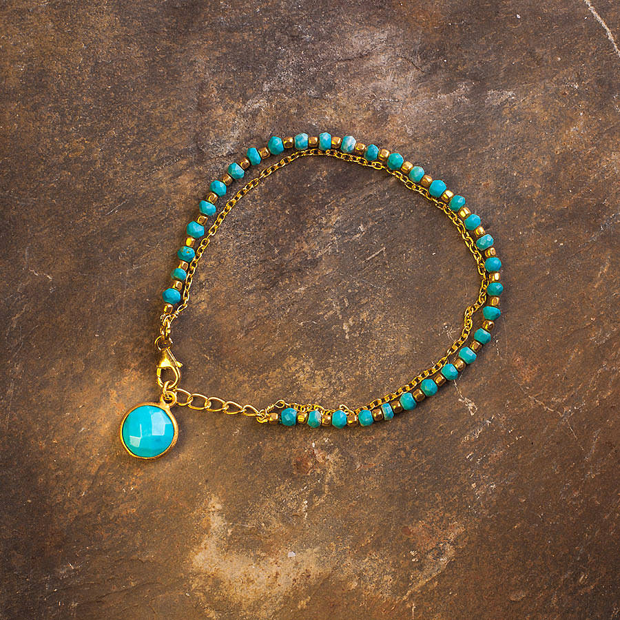 Turquoise And Gold Friendship Bracelet