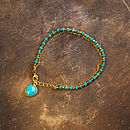 Turquoise And Gold Chain Friendship Bracelet