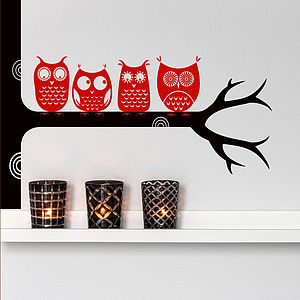 Woodland Tree Owls On A Branch Wall Sticker - wall stickers