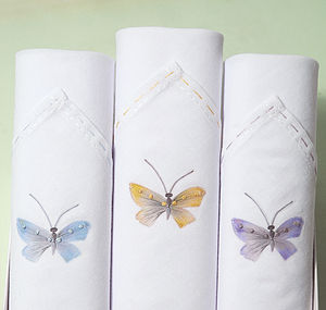 Box Of Three Ladies Hankies: Butterflies