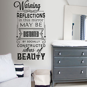 'Warning Reflections In This…' Wall Sticker