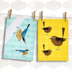 Set Of Two Birdy Tea Towels