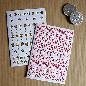 Pack Of Six Typographic Christmas Cards - cards & wrap