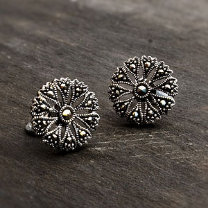 Sterling Silver Marcasite Flower Studs - earrings