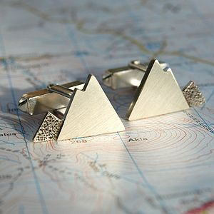 Handmade Sterling Silver Mountain Cufflinks - men's accessories