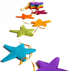 Handmade Ribbon And Felt Star Bunting - garlands, bunting & hanging decorations
