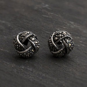 Sterling Silver Marcasite Round Knot Studs - earrings