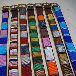 Leather Beaded Belt - belts