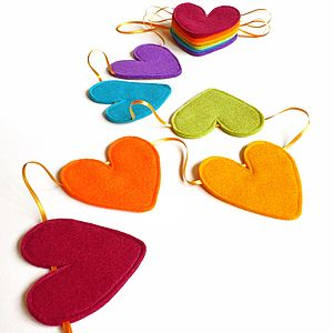 Ribbon And Felt Handmade Heart Bunting - winter sale