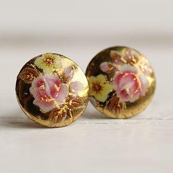 Pink Rose Stud Earrings