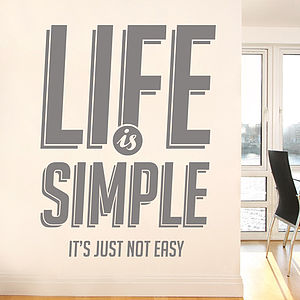 'Life Is Simple…' Wall Decal - wall stickers