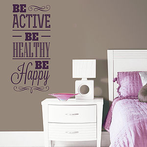 'Be Active Be Healthy…' Wall Sticker - wall stickers