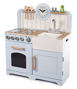 Pale Blue Wooden Toy Kitchen