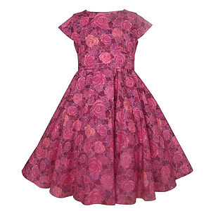Roses Liberty Print Party Dress - dresses