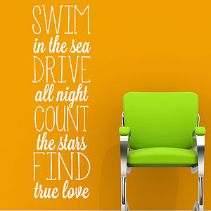 'Swim In The Sea…' Wall Sticker - wall stickers