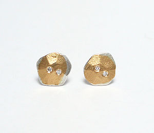 Forged Silver, Gold And Diamond Earrings - earrings