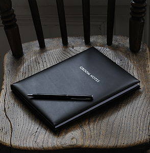 Genuine Leather Groom Notebook - engagement gifts