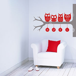 Festive Woodland Owl Wall Stickers - christmas wall stickers
