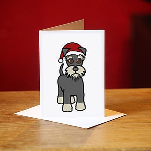 Schnauzer Christmas Card In Grey - cards
