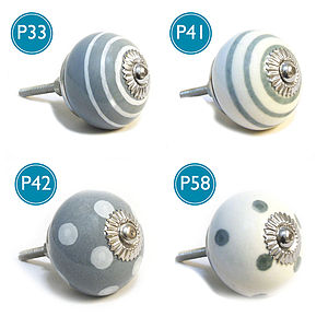 Grey Spots & Stripes Ceramic Cupboard Knob - children's room accessories