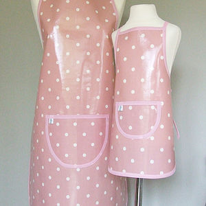 Pink Spotty Oilcloth Apron - aprons