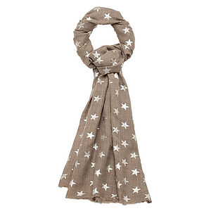 Wrap, Pashmina, Natural Colour Silver Or Gold Stars - hats, scarves & gloves