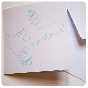 Screen Printed 'Mittens' Christmas Card