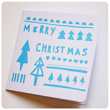 Screen Printed 'Merry Christmas' Card