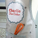 Grey 'Star Baker' Personalised Oilcloth Apron