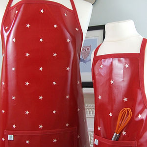 Red Stars Oilcloth Apron - aprons