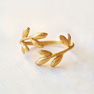 Gold Wrap Leaf Ring - rings