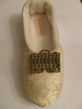 Silk Slippers With Piere Frey Trim