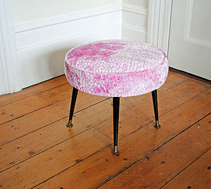 1950's Pink Velvet Stool - furniture