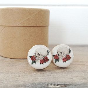Skull And Rose Tattoo Style Ceramic Cufflinks