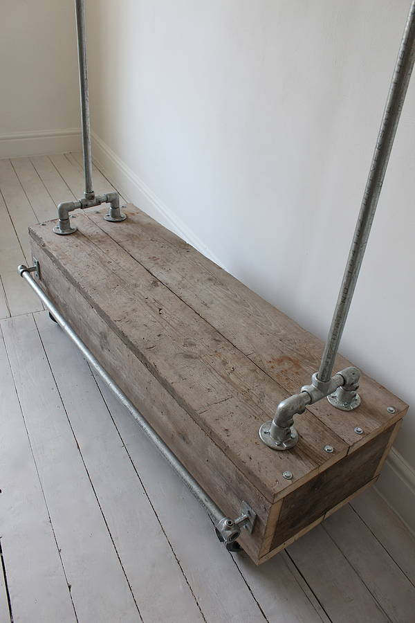 pia clothes rail with reclaimed scaffold wood drawer by ...