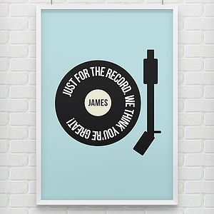 Personalised 'Just For The Record' Print - music inspired home accessories