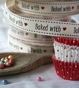 'Baked With Love' Ribbon, 25 Meter Reel - cake decoration