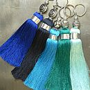 Blue Handmade Silky Tassel Key Ring