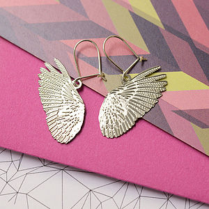 Plume Feathered Wing Earrings - earrings