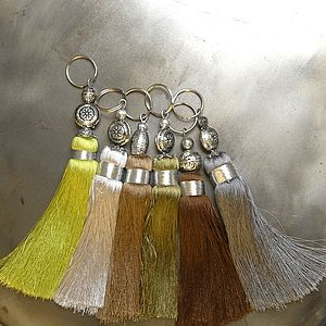Beige And Green Handmade Tassel Key Ring