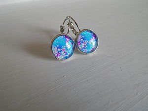 Cabochon Glass Earrings   Blue Floral Design