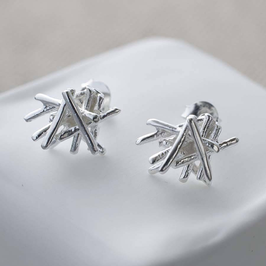 Sterling Silver Twig Stack Stud Earrings