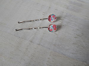 Floral Cabochon Hairslides - bridesmaid accessories