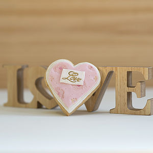 Pink Valentine's Loveheart Cookie - edible favours