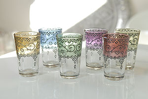 Henna Moroccan Mint Tea Glasses, Set Of Six - kitchen