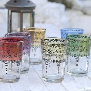 Two Large Henna Moroccan Tea Glasses - drink & barware