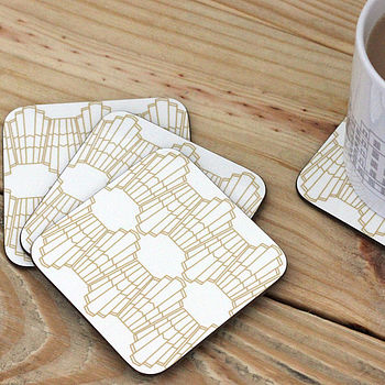 Set Of Four Ornamental Wave Coasters